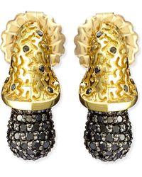 Alex Soldier - Acorn 18k Gold & Black Diamond Earrings - Lyst