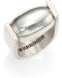 Ann Demeulemeester Sterling Silver Oval Ring - Lyst