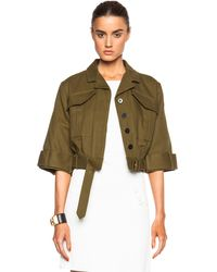 10 Crosby Derek Lam Short Sleeve Cropped Military Jacket - Lyst