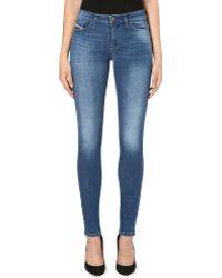Diesel Skinzee Skinny Midrise Faded Jeans Indigo - Lyst