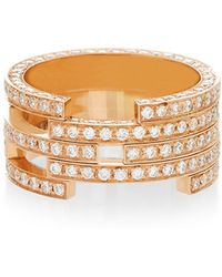 Maison Dauphin - Structural Pink Gold And Diamond Ring - Lyst