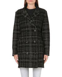 DIESEL - Checked Wool Blend Coat - Lyst