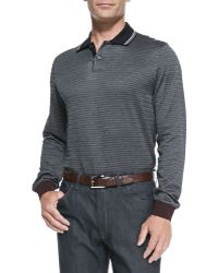 Brioni Long-Sleeved Woven-Neat Polo Shirt - Lyst