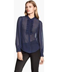 H&M Spotted Frilled Blouse - Lyst
