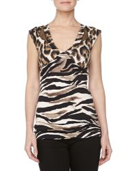 Just Cavalli Leopardprint Vneck Jersey Top - Lyst