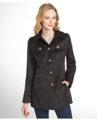 Anne Klein | Black Button Front Hooded Trench | Lyst