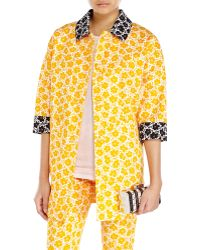 Love Moschino Floral Print Jacquard Coat - Lyst