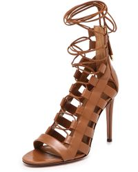 Aquazzura Amazon Lace Up Sandals  Cognac - Lyst