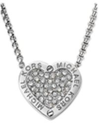 Michael Kors Crystal Pavé Mk Logo Heart Pendant Necklace - Lyst