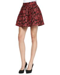 Alice + Olivia Fizer Shimmery Rose Jacquard Skirt - Lyst