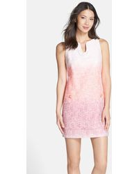 Cynthia Steffe 'Bailey' Ombre Woven Shift Dress pink - Lyst