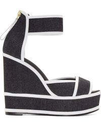 Pierre Hardy Navy Denim Wedge Sandals - Lyst
