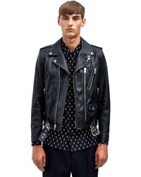 Saint Laurent Mens Studded Leather Biker Jacket - Lyst