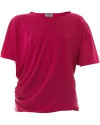 Lanvin Short-Sleeved Stretch-Silk Top pink - Lyst