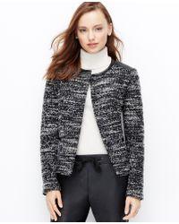 Ann Taylor Petite Faux Leather Trim Tweed Jacket - Lyst