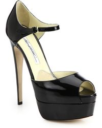 Brian Atwood Tribeca Patent Leather Platform Sandals - Lyst