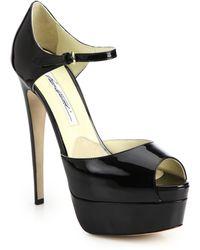 Brian Atwood Tribeca Patent Leather Platform Sandals black - Lyst
