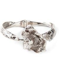 Alexander McQueen Silver Flower Bracelet - Lyst