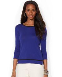 Lauren by Ralph Lauren Three-quarter-sleeve Contrast-trim Top - Lyst