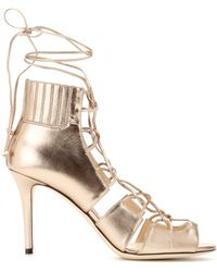 Jimmy Choo Myrtle Metallic Leather Sandals - Lyst