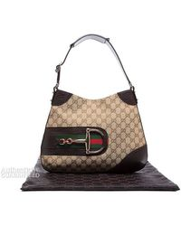 Gucci Beige Monogram Hasler Horsebit Hobo Bag - Lyst