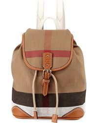 Burberry Children'S Mini Leather-Trim Canvas Backpack - Lyst