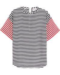 RED Valentino Striped Silk T-Shirt - Lyst