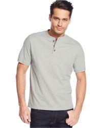 G.H.BASS - Heathered Henley T-shirt - Lyst