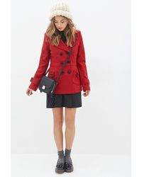 Forever 21 - Double-breasted Woven Coat - Lyst