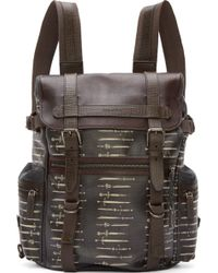Dolce & Gabbana Brown and Grey Coated Canvas Sword Print Rucksack - Lyst