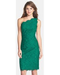 Tadashi Shoji One-Shoulder Lace Sheath Dress - Lyst