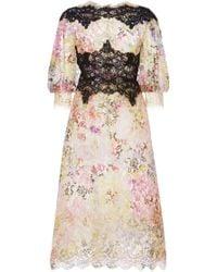 Marchesa Floral Metallic Lace Cocktail Dress - Lyst