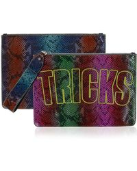 House of Holland | Bag Of Tricks Embroidered Snake-Effect Leather Clutch | Lyst