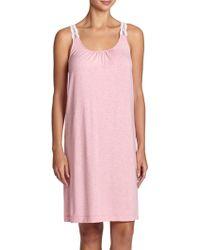 Hanro Liz Jersey Tank Gown pink - Lyst