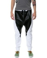 Gag Threads White Cotton  Leather Detail Drop Crotch Joggers  Back and Stash Pocket - Lyst