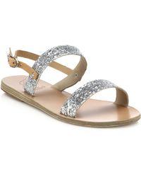 Ancient Greek Sandals Clio Glitter Leather Sandals - Lyst