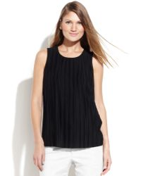 Calvin Klein Sleeveless Pleated Top - Lyst