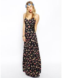 Asos Maxi Dress in Floral Print with Lace Inserts - Lyst
