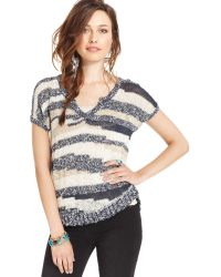 Lucky Brand Shortsleeve Vneck Striped Sweater - Lyst