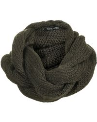 Topshop Khaki Plaited Snood - Lyst