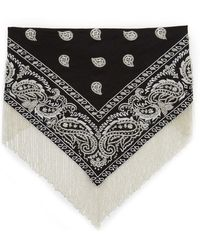 Roarke - Bandana Beaded Fringe Necklace - Silver/black - Lyst