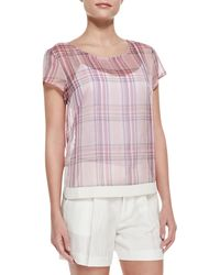 J Brand Rhea Sheer Plaid Chiffon Blouse - Lyst