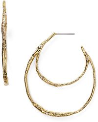 Alexis Bittar Elements Crystal Embellished Double Hoop Earrings gold - Lyst