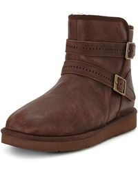 Ugg Aiden Double Strap Leather Biker Boots - Lyst