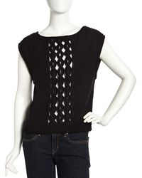 L.a.m.b. Sleeveless Cable Knit Sweater Black - Lyst