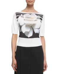Carolina Herrera Striped Floral-Printed Tee - Lyst