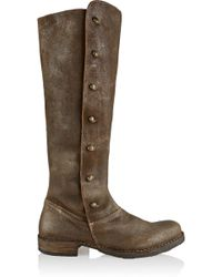 Fiorentini + Baker Brown Brushed-leather Boots - Lyst