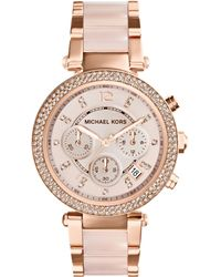 Michael Kors Women'S Chronograph Parker Blush And Rose Gold-Tone Stainless Steel Bracelet Watch 39Mm Mk5896 - Lyst