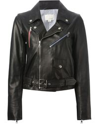Band Of Outsiders Black Biker Jacket - Lyst