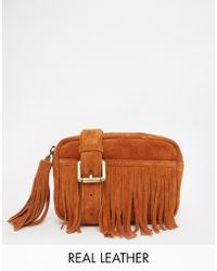 Asos Suede Fringed Fanny Pack brown - Lyst